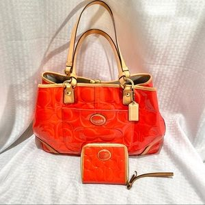 Authentic Coach Satchel and Wallet, Patent Leather